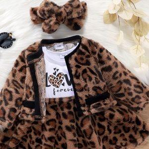 🐆New 3 Pc Animal Print Dress Coat Headband Girls 3T🐆